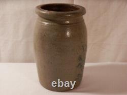 Antique Salt Glazed Stoneware Crock Cobalt Blue Flowers 8 1/4