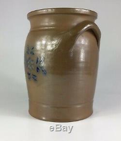Antique Salt Glazed Stoneware Crock Double Handle Cobalt Blue Floral 10 Tall