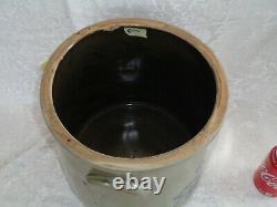 Antique Salt Glazed Stoneware Crock W Blue cobalt decoration 3 gallon