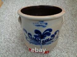 Antique Salt Glazed Stoneware Crock W Blue cobalt decoration nice size