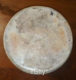 Antique Shaking Hands Crock Cobalt Blue Stencil Salt Glaze Stoneware 19th Cent