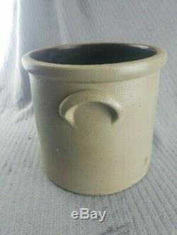 Antique Signed base Salt Glazed Stoneware J. Fisher & Co. Lyons, N. Y. 2 gal Crock