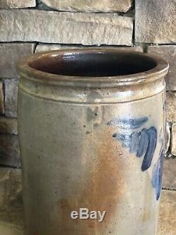 Antique Solomon Bell Virginia Blue Decorated Stoneware 2 Gallon Crock Signed