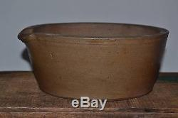 Antique StoneWare Rare Crock Pan Pot Primitive Americana