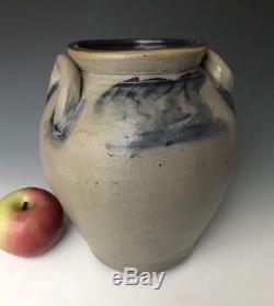 Antique Stoneware 1G Ovoid Jar Crock with Primitive Cobalt, NY/CT/NJ c. 1835