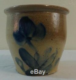 Antique Stoneware 1/2 Gal. Crock Blue Tulip Decoration Shenfelter Reading, Pa