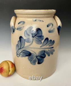 Antique Stoneware 2G Crock Jar with A+ Brushed Cobalt Floral, Lyons NY, c. 1865