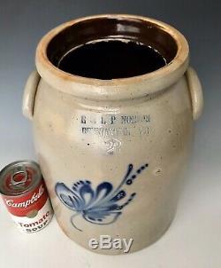 Antique Stoneware 2G E&LP Norton Jar Crock with Cobalt Floral, Bennington VT