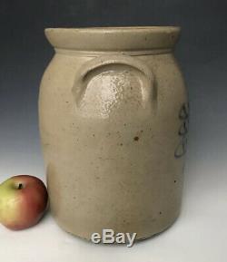 Antique Stoneware 2G Jar or Crock with Primitive Cobalt Floral, Ithaca NY, c. 1875