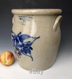 Antique Stoneware 2G Ovoid Crock with Cobalt Floral, JACW Underwood, Ft Edward NY