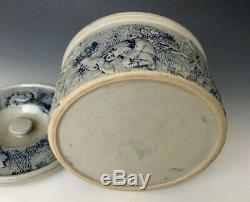 Antique Stoneware #2 Butter Crock with Lid, Deer Hunt Scene, Whites Utica, c1900