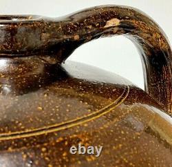 Antique Stoneware 2 Gallon Jug Primitive Crock Salt Glaze Beehive Pottery Brown