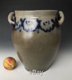 Antique Stoneware 3G Ovoid Jar Crock with Cobalt & Manganese, Crolius, NYC, 1800s
