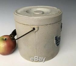 Antique Stoneware #3 Butter Crock Lidded Canister with Cobalt, Whites Utica, NY