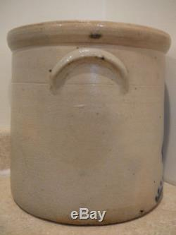Antique Stoneware 3 Gal Crock Cobalt Blue Hen Pecking Corn Ear Handles