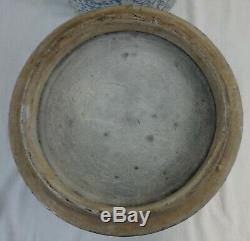 Antique Stoneware 3 Part Watercooler Blue Sponge Salt Glaze