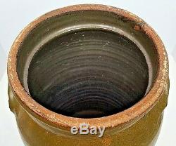 Antique Stoneware 4 Gallon Ovoid Form Churn Crock Jar Primitive Southern Pottery