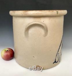 Antique Stoneware 5G FB Norton Crock with Cobalt Parrot Bird, Worcester MA, c1860