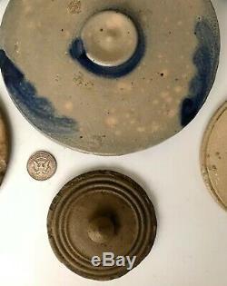Antique Stoneware 7 Salt-Glazed & Cobalt Decorated Crock Jar Lid Covers, 19thC
