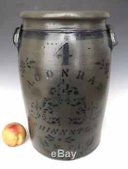 Antique Stoneware A+ 4G Jar Crock with Cobalt, A Conrad, Shinnston, West Virginia