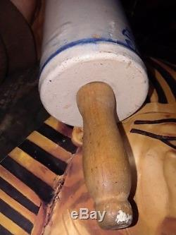 Antique Stoneware Blue And White Antique Rolling Pin