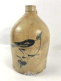 Antique Stoneware Blue Bird Decorated Jug Crock Bottle