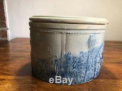 Antique Stoneware Butter Cheese Crock Blue Glaze Hunting Elk Design #3