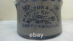 Antique Stoneware Butter Crock Bird Stencil Hamilton Jones Rim Chip