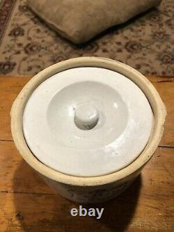 Antique Stoneware Butter Crock With Lid- Cows Grazing