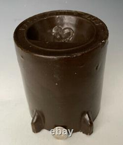 Antique Stoneware Chicken Waterer Feeder Poultry Fountain Crock Dated Apr 7 1885