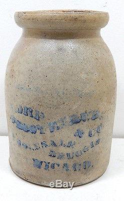 Antique Stoneware Cobalt Blue Crock Wholesale Druggist Chicago IL