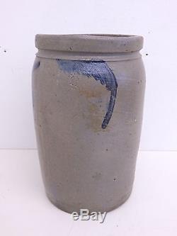Antique Stoneware Cobalt Blue Flower 1 1/2 Gallon Pickling Crock