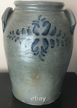 Antique Stoneware Cobalt Blue Tulip Floral Decoration Handled Crock