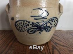 Antique Stoneware Colbalt Lid Beesting Butterfly Design Slip Handles Ovoid