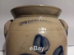 Antique Stoneware Cowden Wilcox 1 1/2 Gallon Pottery Crock Blue Tulips/Flowers