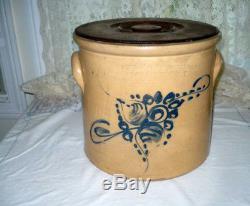 Antique Stoneware Crock 3 Gal Cobalt Blue Floral Riedinger & Caire NY Exc. Cond