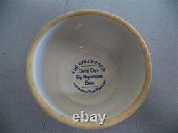 Antique Stoneware Crock Bowl with David City, NE Advertising The Golden Rod