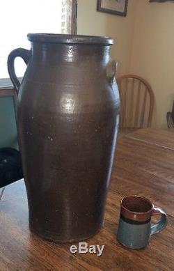 Antique Stoneware Crock Butter Churn 4 Gallon 18-1/2