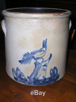 Antique Stoneware Crock Cobalt Bird-on-Stump Decorated ADAMCAIRE Pougheepsie N. Y