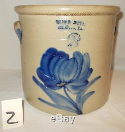 Antique Stoneware Crock Cobalt Blue Decorated by Evan Jones, Pittston, Pa