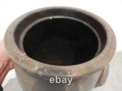 Antique Stoneware Crock Cobalt Blue Flower Design Double Handle 5 Gal