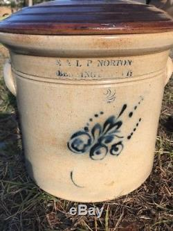 Antique Stoneware Crock E & L P Norton Bennington Vt Cobalt Blue Lid 2 Gallon