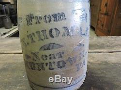 Antique Stoneware Crock Jar, JW Thomas Near Muntown, PA Thomas Crossroads (-FGE)