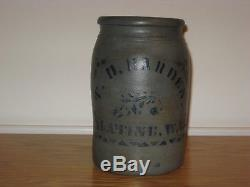 Antique Stoneware Crock, Palatine WVa. 1 Gal, Salt Glazed Stoneware Crock