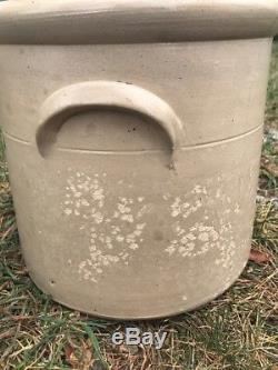 Antique Stoneware Crock Salt Glaze Slip Handles Cobalt Flower 6