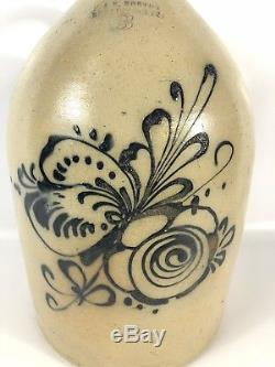 Antique Stoneware Crock with Blue Floral Design LARGE 3 Gal Norton Bennington Vt