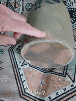 Antique Stoneware Crock with Cobalt. Floral Decoration 12