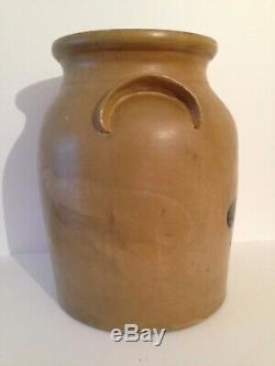 Antique Stoneware Crock with Cobalt blue Bird 12 diameter 15 tall 4 gallon