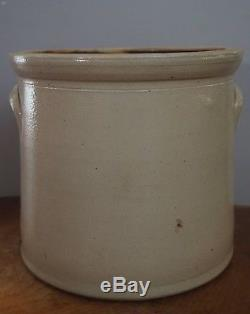 Antique Stoneware F Woodworth Burlington VT 2 Gallon Crock Salt glazed Blue Leaf