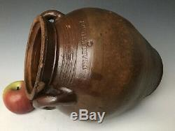Antique Stoneware Frederick Carpenter 1G Ovoid Jar Crock, Charlestown MA c. 1820